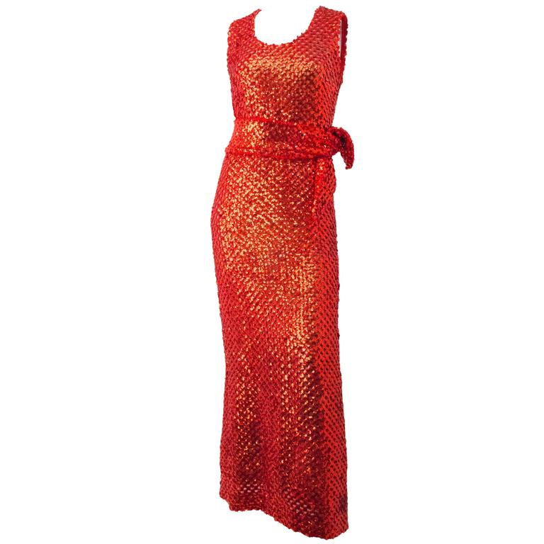 70s Red Sequined Evening Gown For Sale at 1stdibs