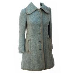 60s Jaeger Blue & Grey Herringbone Coat