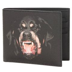 2010s Givenchy Black Coated Canvas Rottweiler Classic Single Bill Wallet