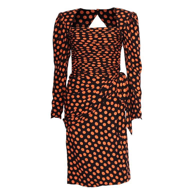 1980s Silk Spot Dress  by Emanuel Ungaro