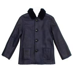 Celine Dark Blue Reversible Lambskin Coat