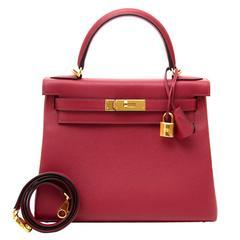 Brand New Hermès Kelly Retourne 28 cm Evercolor Rouge Grenat GHW
