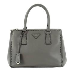 Prada Double Zip Lux Tote Stitched City Calfskin Small
