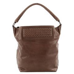 Bottega Veneta Bucket Hobo Leather with Intrecciato Detail Large