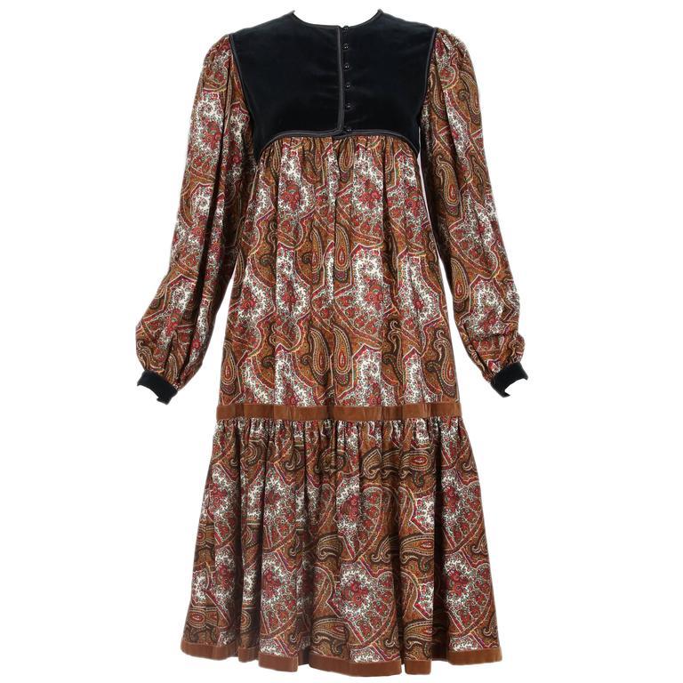 Vintage Yves Saint Lau Ysl Paisley Print Peasant Dress W Velvet Trim For