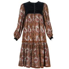 Vintage Yves Saint Laurent YSL Paisley Print Peasant Dress w/Velvet Trim