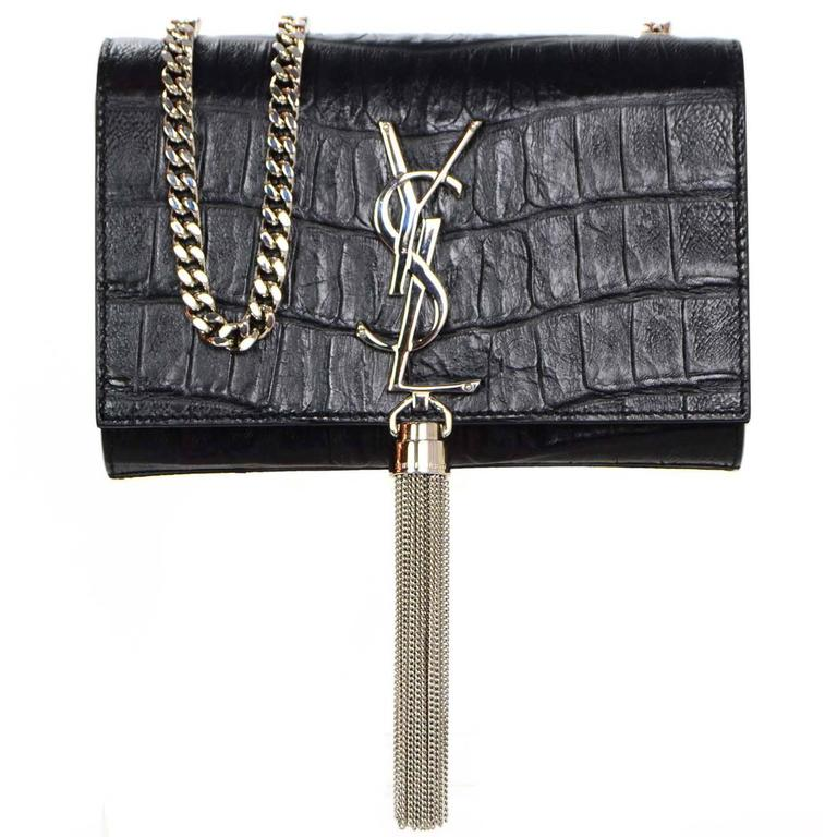 Saint Laurent Croc Embossed Monogramme Ysl Tassel Bag For