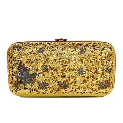Judith Leiber Vintage Gold Metal Hard Case Minaudiere w/ Strap