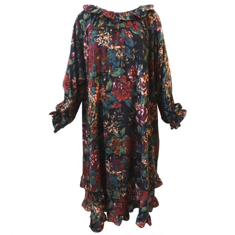 1990s Saint Laurent, Yves Rive Gouche Floral Dress 1