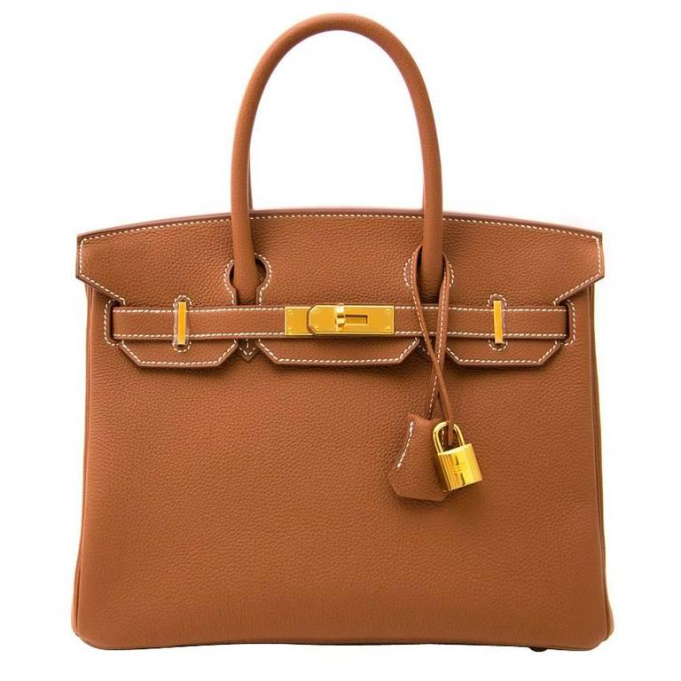 e4d42a3cd304 Brand New Hermes Birkin 30 Gold Togo GHW at 1stdibs