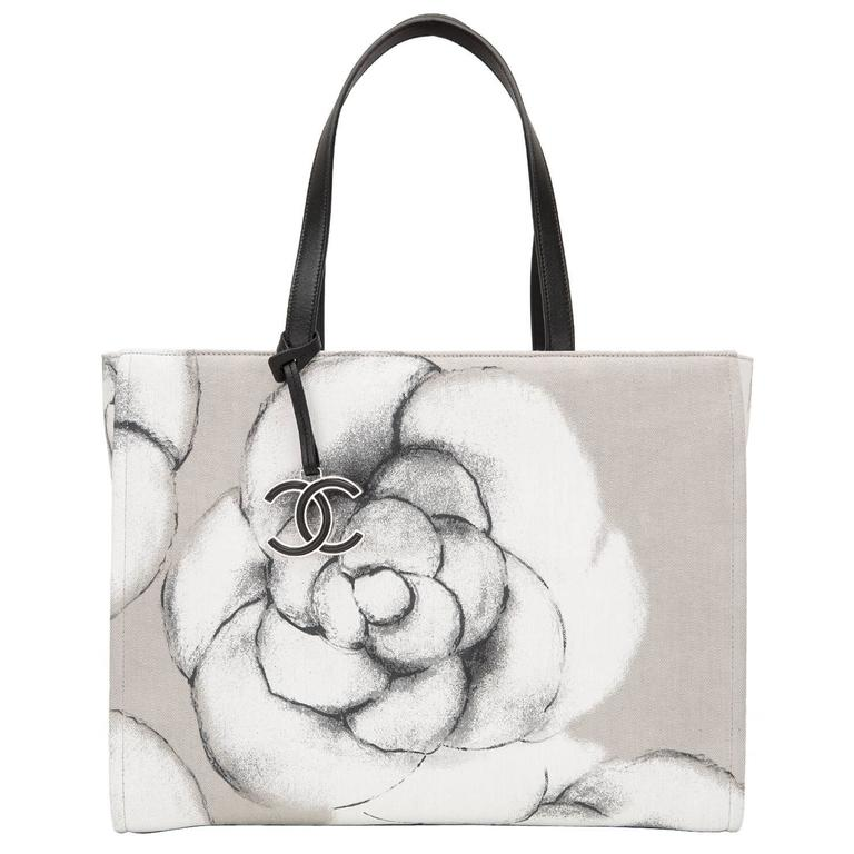Chanel Canvas And Leather Camellia Large Shopping Tote at ...