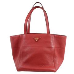 Prada Fire  Red Grained Leather Tote Bag
