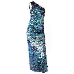 60s Paillette Asymmetrical Gown