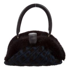 Louis Vuitton Limited Edition Monogram Beaded Fur Top Handle Satchel Evening Bag