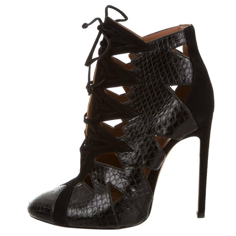 Alaia NEW & SOLD OUT Black Leather Suede Laser Tie Up Ankle Boot Booties in Box  For Sale