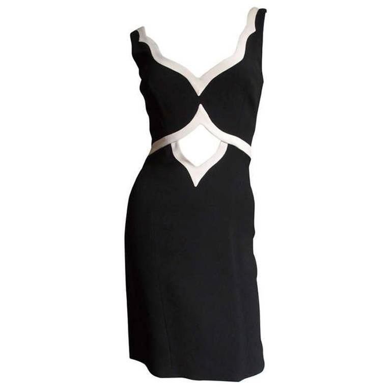 1990s Moschino Couture Cutout Midriff Dress
