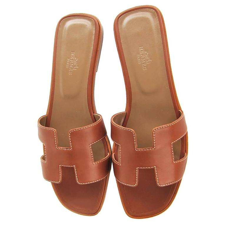 2b776fc990a5 Hermes Gold Tan Oran Sandals 38.5 or 8 Orans Shoes Iconic Classic For Sale
