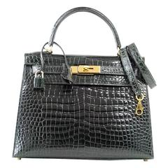 HERMES KELLY 28 Bag Exotic Vert Fonce Porosus Crocodile Gold Hardware
