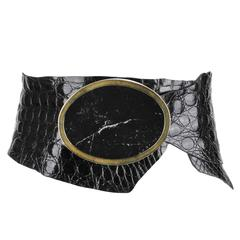 LYNN TUTTLE Black Alligator Raw Edge Leather Natural Stone Brass Buckle Belt
