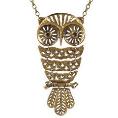 LOUIS GIUSTI c.1960's Huge Brutalist Owl Pendant Artwear Articulated Necklace