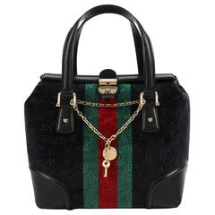 "GUCCI ""Treasure Small Boston"" Horsebit Embossed Black Velvet Leather Handbag"