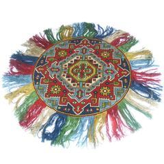 Vintage Tribal Design Circular Fringe Rug c 1950s