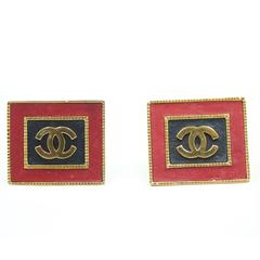 Chanel Vintage  Large CC logo Earrings