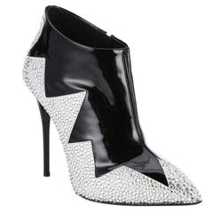 Giuseppe Zanotti NEW Black Patent Leather Crystal Ankle Boots Booties in Box
