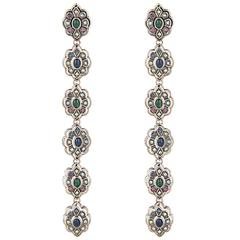 Gucci NEW & SOLD OUT Palladium Crystal Glass Stone Dangle Drop Earrings