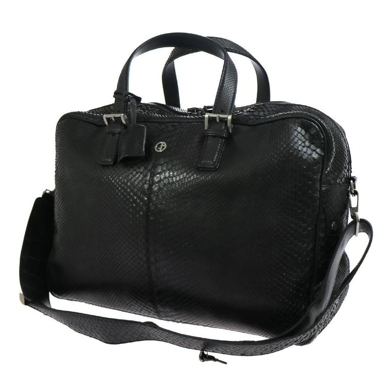 a61d34b8d735 Giorgio Armani Black Snakeskin Men s CarryAll Weekender Duffle Business Bag  For Sale