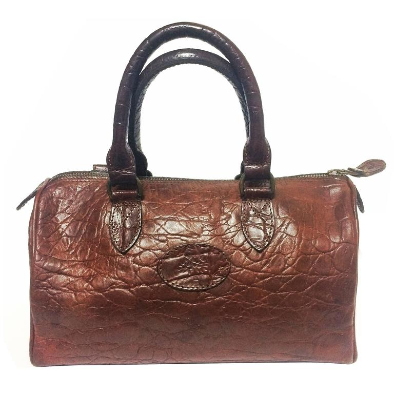Vintage Mulberry brown croc embossed leather mini handbag by Roger Saul.