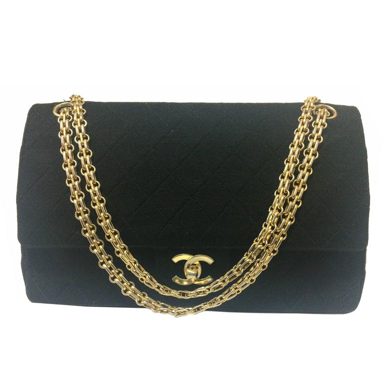 Vintage Chanel classic black jersey 2.55 bag with double flap and skinny chains 1