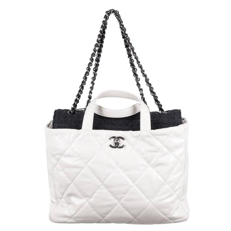 1f754f31e4c4 CHANEL White QUILTED Leather PORTOBELLO Tweed Flap TOTE Shoulder Bag For  Sale. - Rare CHANEL Black ...