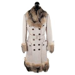 BURBERRY Off-White Quilted Leather DOUBLE BREASTED COAT w/ FUR Trim SIZE 42