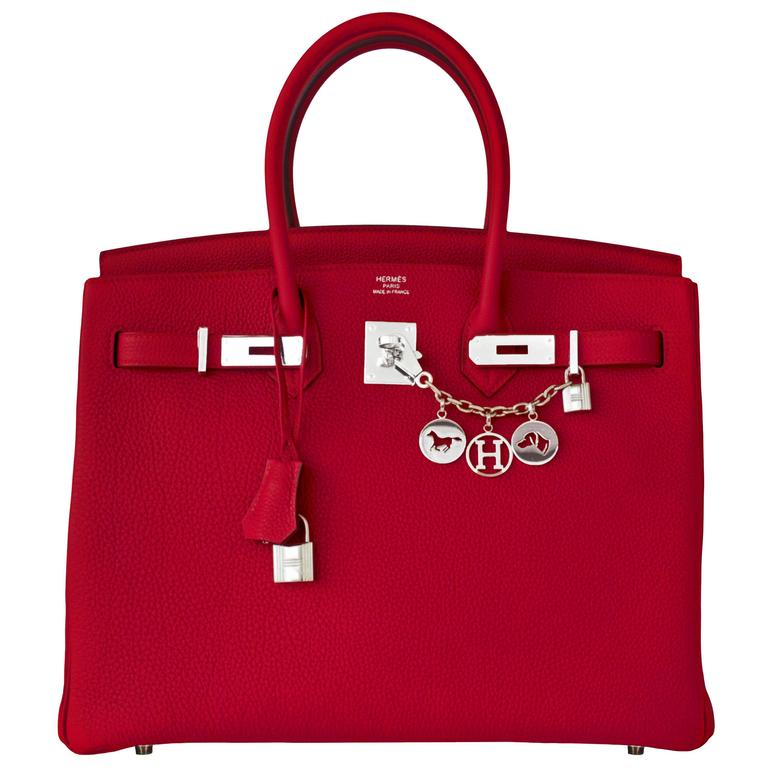 Hermes Rouge Grenat Garnet Red 35cm Birkin Togo Palladium Hardware Jewel  For Sale 58faa9d327