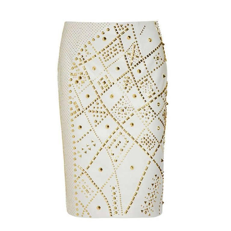 New and Most Wanted VERSACE STUDDED LEATHER PENCIL SKIRT For Sale