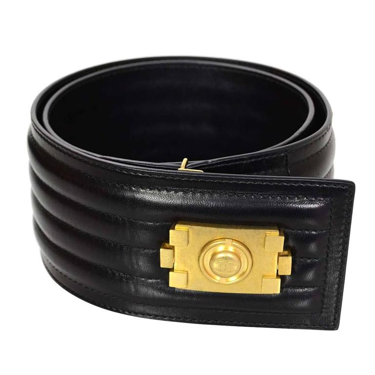 chanel belt. chanel black leather belt with boy buckle sz 90 rt. $1,400 1
