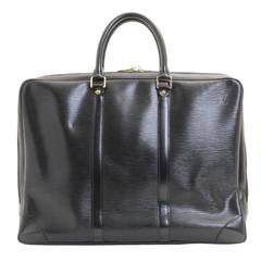 Louis Vuitton Black Leather Gold Hardware Men's Laptop Carryall Briefcase Bag