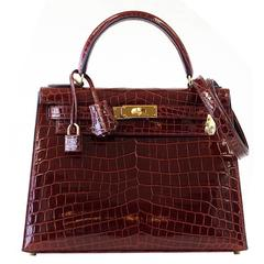 Hermes Kelly 28 Sellier Bag Bourgogne Red Crocodile Contour Navy Edging Gold