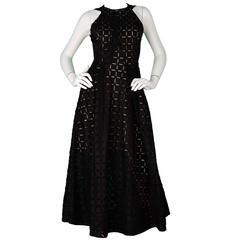 Roland Mouret Black Eyelet Sleeveless Dress Sz 6