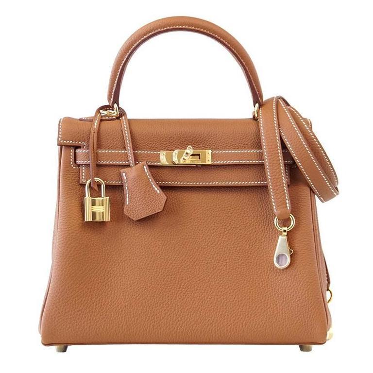 Hermes Kelly 25 Retourne Bag Coveted Gold Togo Gold ...