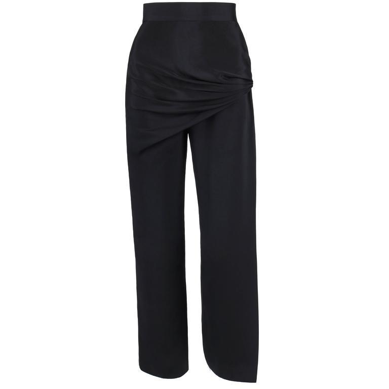 GIANNI VERSACE c.1990's Black Silk Drape Front Open Slit Leg Pants Size 38