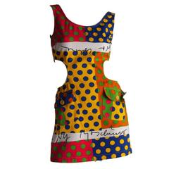 MOSCHINO Jeans Vintage Cotton Polka Dot 1990s Cut Out Dress