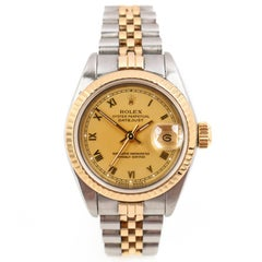 ROLEX Oyster Perpetual Datejust Steel 18K Yellow Gold Fluted Bezel Ladies Watch