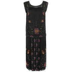 COUTURE c.1920s Black Silk Floral Beaded Embroidered Panel Flapper Evening Dress