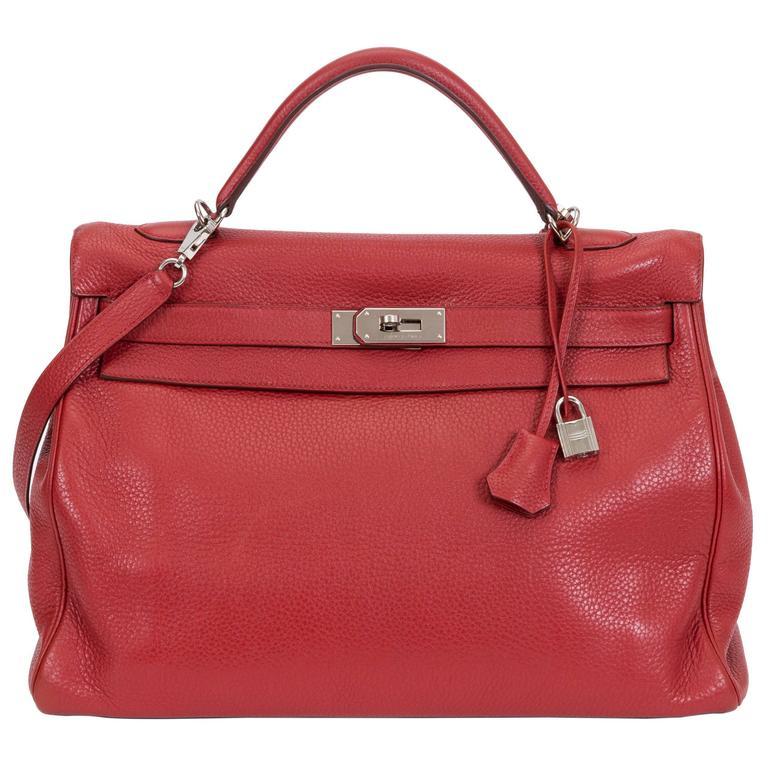 Hermès 40cm Rouge Clemence Kelly Bag