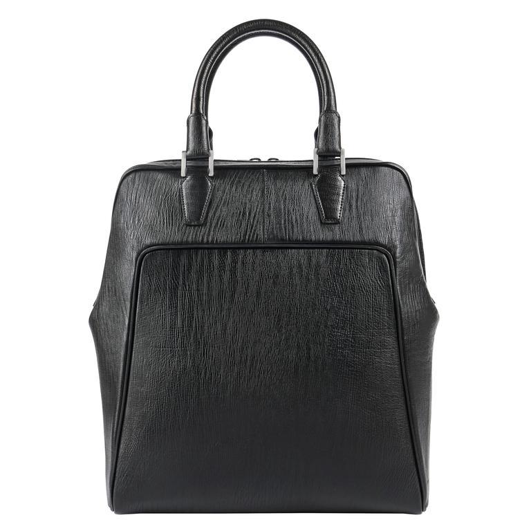 BALENCIAGA PARIS Black Structured Large Padded Laptop Bowler Briefcase Handbag