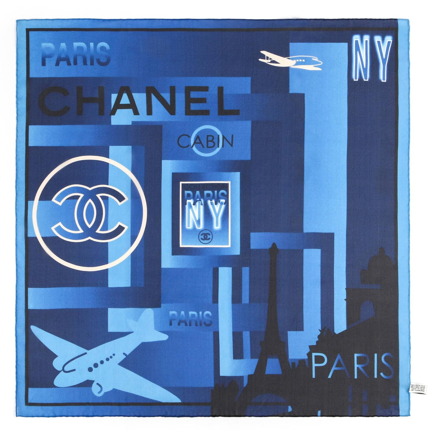 Chanel paris nyc blue navy 100 silk airplane jet for Chanel locations in paris