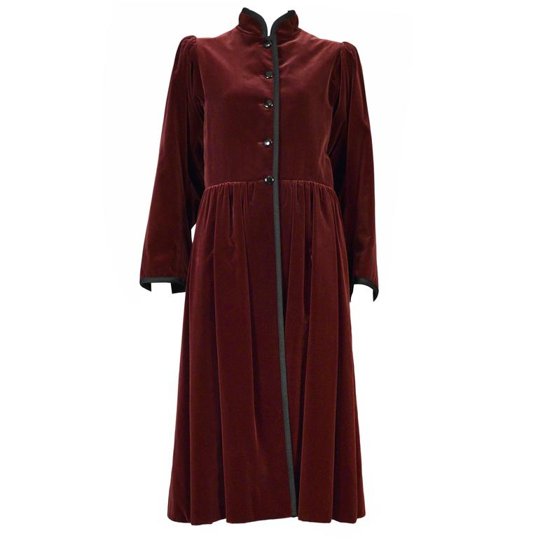 Yves Saint Laurent Burgundy Velvet Coat For Sale