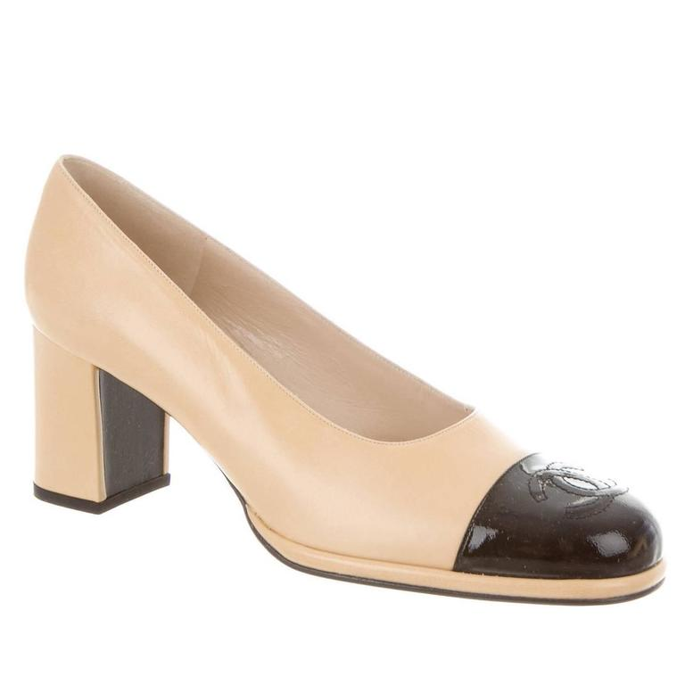 ef35a2ae874 Chanel NEW Beige Black Cap Toe Leather Patent CC Block Heels Pumps in Box  For Sale